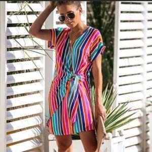 Vici 🌸 Rainbow Striped Retro Wrap Dress